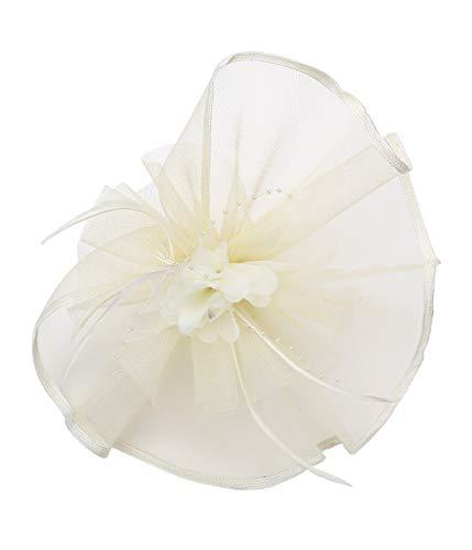 Felizhouse Fascinator Hats for Women Beaded Flower Feather Veil Party Headband (#2 Cream White) by Felizhouse
