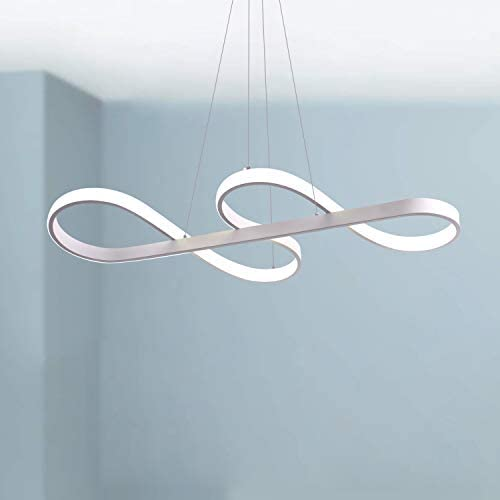 Leniure White Musical Note LED Light Pendant Lamp Chandelier Lighting Fixture 30 Wide 14 Deep 4 High, Warm White 3000K