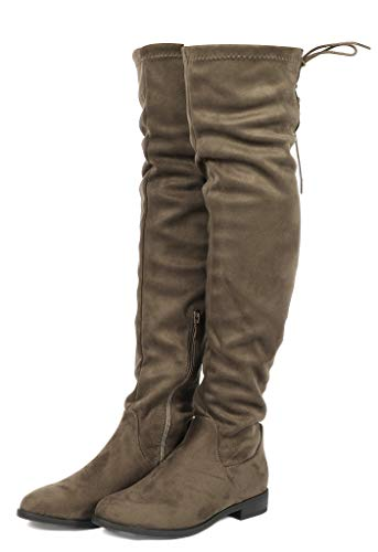 DREAM PAIRS Women's Suede Over The Knee Thigh High Winter Boots Khaki-lace