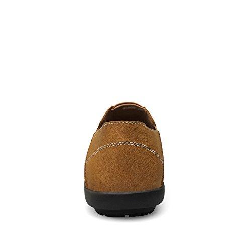 Zapatos Cuero Ponerse Conducción Coche Hombre Mocasines Shenn Comodidad Caqui Cq0Rw