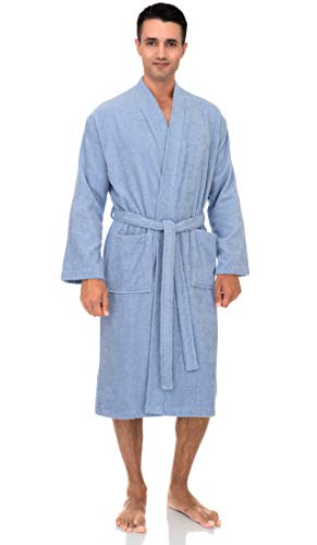 TowelSelections Men's Robe, Turkish Cotton Terry Kimono Bathrobe X-Large/XX-Large Kentucky Blue (Pure Cotton Terry Bathrobe)