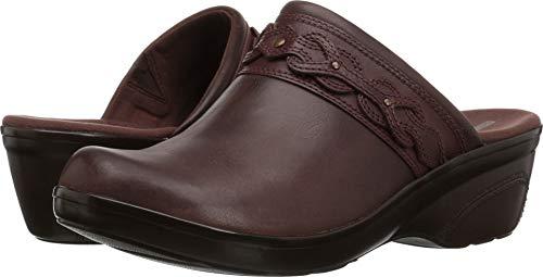 CLARKS Women's Marion Coreen Clog, Mahogany Leather, 090 M -