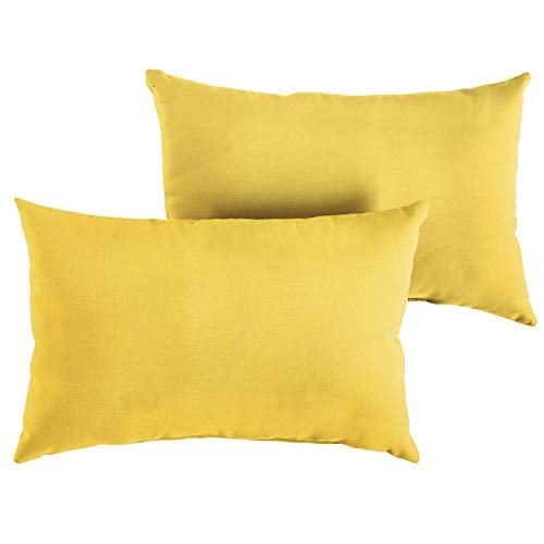 (1101Design Sunbrella Sunflower Yellow Knife Edge Decorative Indoor/Outdoor Rectangle Lumbar Pillow, Perfect for Patio Decor - Sunflower Yellow 12