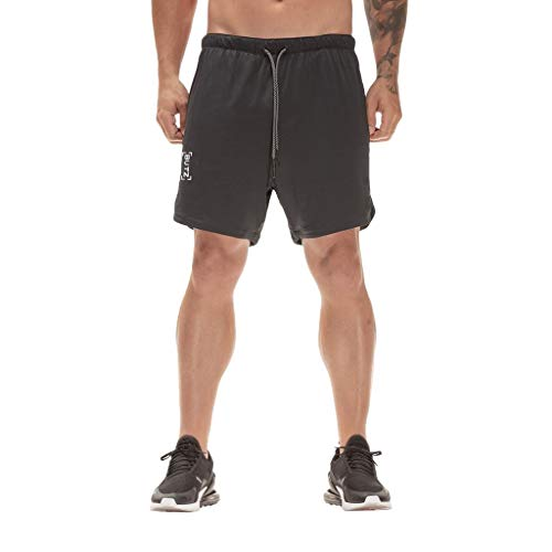 Men Sport Shorts Summer Elastic Waist Drawstring Dry Fit Fitted Training Bodybuilding Jogger (XXL, Black)