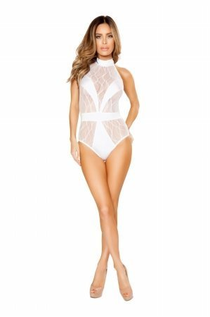 Roma Women's Plus Size 1pc Romper With V Covered Detail, White, 1X/2X