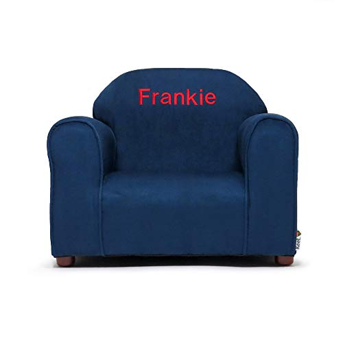 (Upholstered Personalized Kids Chair Microfiber Suede (Navy))