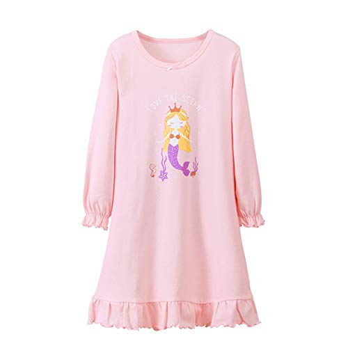 DGAGA Nightgown for Girls, Kids Unicorn Mermaid Nightdress Princess Nightie Dresses Sleepwear Pajamas 9-10 Years(150cm, pink)