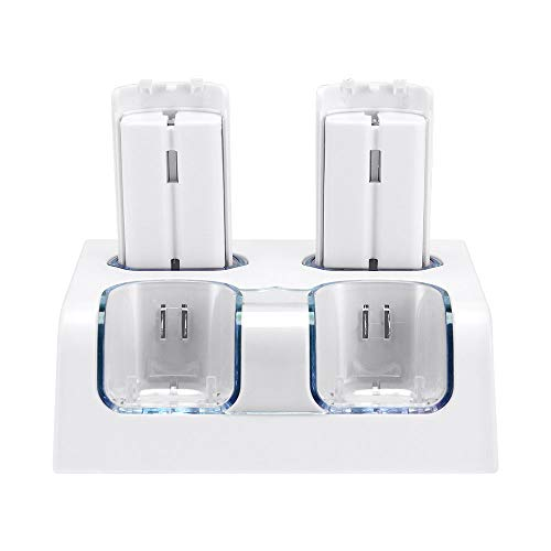(Wii Rechargeable Batteries Charger Dock, Wii Remote Controller Charging Station with 4 Rechargeable Batteries and USB Charging Cord, White)