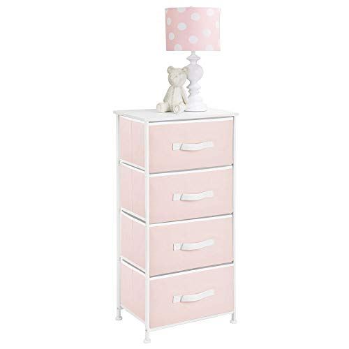 (mDesign 4-Drawer Vertical Dresser Storage Tower - Sturdy Steel Frame, Wood Top and Easy Pull Fabric Bins, Multi-Bin Organizer Unit for Child/Kids Bedroom or Nursery - Light Pink/White)