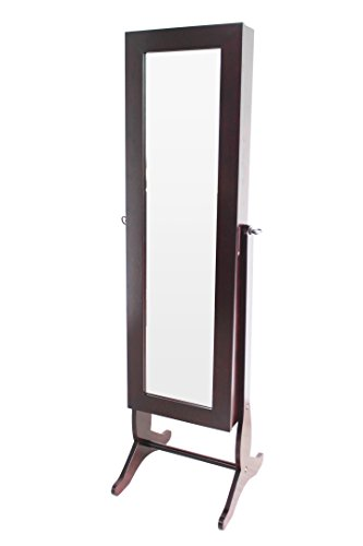 H2O  Jewelry Cabinet Armoire, Free Standing Full length Cheval Mirror, 59-Inch, Walnut (Ikea Dressers For Cheap)
