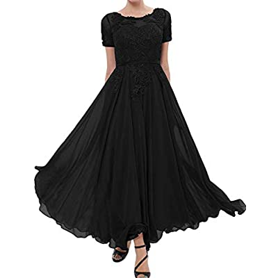 Mother of The Bride Dress Lace Appliques Chiffon Evening Formal Dress Short Sleeve at Women's Clothing store