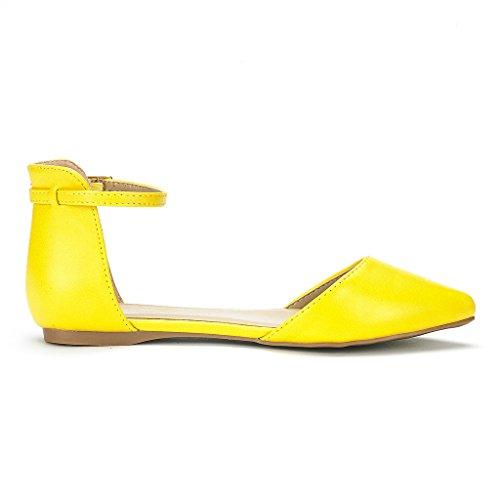 DREAM PAIRS FLAPOINTED Frauen Casual D'Orsay wies Plain Ballett Comfort Soft Slip auf Wohnungen Schuhe neu Flakoned-Knöchel-gelb-sz-12