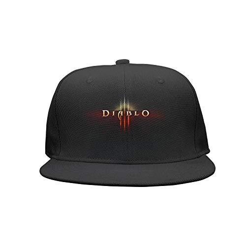 - Diablo-3-Logo- Flat Bill Adjustable Hat Snap Snapback Cap Men & Women Hip-Hop
