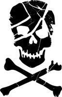 Scarred Skull and Crossbones Stencil - 6 inch (at longest point) - 7.5 mil standard