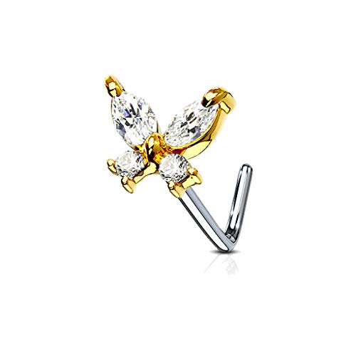MoBody 20G Nose Ring Stud L-Shaped Cubic Zirconia Butterfly Surgical Steel Body Piercing Jewelry (Gold-Tone) ()