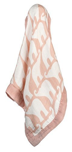 Milkbarn Bamboo and Cotton Mini Lovey Baby Blanket - Rose Elephant ()