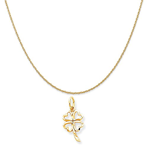 10k Yellow Gold Shamrock Charm on a 14K Yellow Gold Rope Chain Necklace, 16