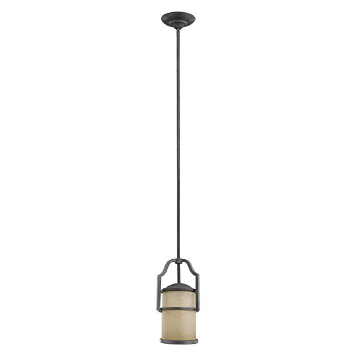 Sea Gull Lighting 61520-845 Roslyn One-Light Mini-Pendant with Creme Parchment Glass Shade, Flemish Bronze Finish - Light Flemish Bronze Chandelier