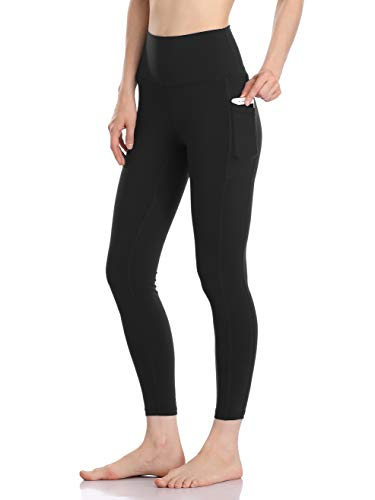 Colorfulkoala Women's High Waisted Yoga Pants 7/8 Length Leggings with Pockets (S, Black)