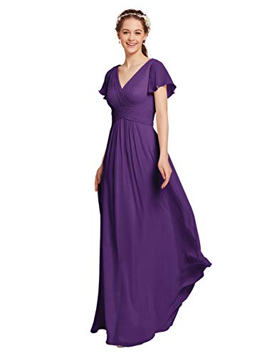 AW Chiffon Bridesmaid Dress with Sleeves V-Neck Wedding Maxi Evening Party Dress Long Prom Gowns, Regency, - Bridesmaid Dress Prom Evening