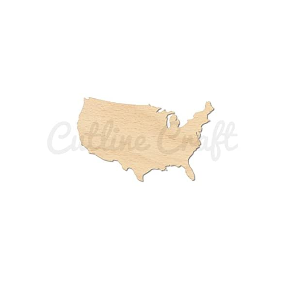 United-States-Country-USA-Style-1113-Wooden-Cutouts-Crafts-Embellishment-Gift-Tag-or-Wood-Ornament