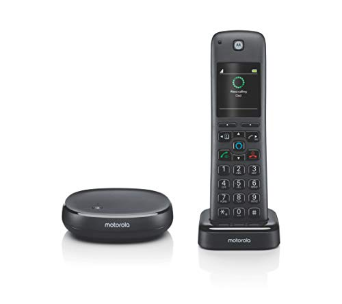 Motorola AXH01 Smart Wireless Home Phone System with Alexa Built-in and Speaker Phone - 1 Cordless Phone Handset Included