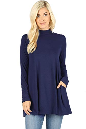 12 Ami Long Sleeve Solid Mock Neck Pocket Swing Tunic T-Shirt Top Navy XXL