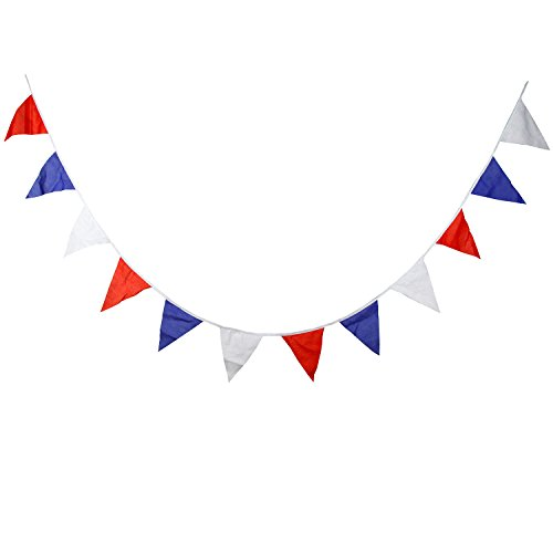 INFEI 3.6M/11.8Ft Solid Multicolored Cotton Fabric Flags Pennant Bunting Banner Garlands for Wedding, Birthday Party, Outdoor, Carnival, Circus & Home Decoration -