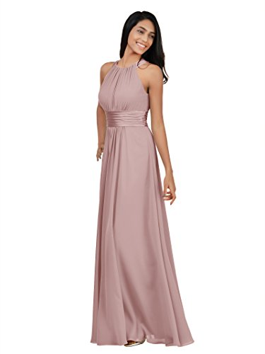 Alicepub Chiffon Bridesmaid Dresses Long for Women Formal Evening Party Prom Gown Halter, Silver Pink, - Satin Knee Length Dress
