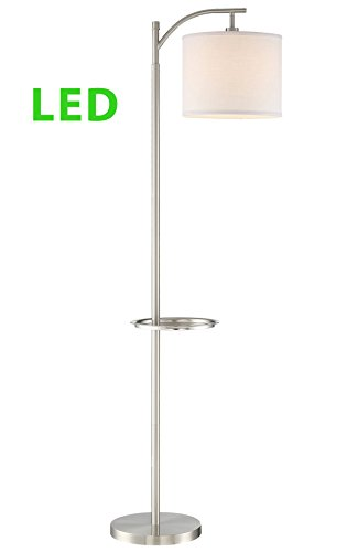 """Revel/Kira Home York 63"""" Minimalist Tray Table LED Floor Lamp (7W LED, Energy Efficient/Eco-Friendly) + White Shade - Modern Standing Arc Light with Hanging Lamp Shade, Brushed Nickel Finish - CLASSIC DESIGN: Tall slender lamp features unique, convenient tray table to hold your phone, keys or wallet (up to 12 lbs). Includes a heavy duty base that doesn't wobble, white fabric drum shade, on/off foot switch, sleek brushed nickel finish and 7W LED EASY TO INSTALL: Place this bright lamp in any room. Ideal in spacious and narrow locations including bedside, the corner of your living room, next to couches, reading chair or table, or in hotel rooms. Dimmer, wall switch, timer & smart plug compatible UL LISTED FOR YOUR SAFETY: UL listed for dry locations. Includes (1) 7W LED bulb. Compatible with LED, CFL or up to 100W traditional incandescent medium base bulbs - living-room-decor, living-room, floor-lamps - 31XfpH1EeQL -"""