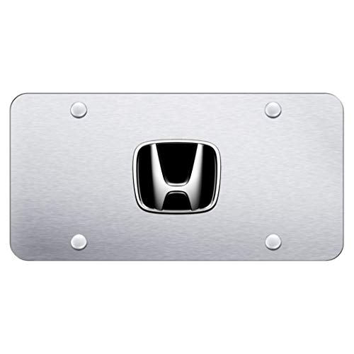 Au-Tomotive Gold, INC. Honda Front License Plate Frame Logo on Satin Brushed Stainless Steel - Genuine Product