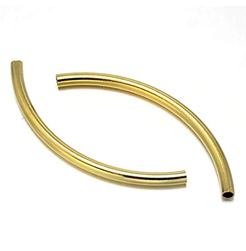 100pcs Top Quality Curved Noodle Tube Spacer Beads 35mm Gold Plated Brass for Jewelry Craft Making CF198