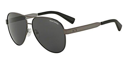 Armani Exchange Men's 0ax2018s Non-Polarized Iridium Aviator Sunglasses, matte gunmetal black, 55.3 mm
