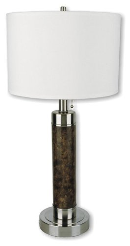 Cheap ORE International 31112 26-Inch Cylinder Table Lamp, Walnut