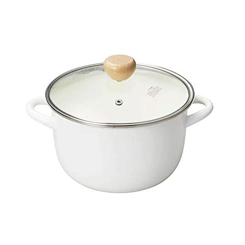 Enameled Cast Iron Pot with Transparent Lid -3.5 Quart Sauce pan with Overflow Against desing, Use as Butter Warmer Enamelware Stockpot