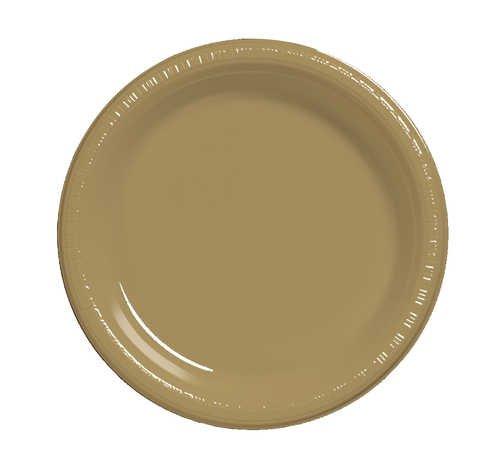 Creative Converting 28103031B 10 inch Plastic Banquet Plate Bulk Glittering Gold 600 Counts