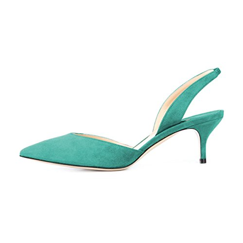 Suede Pumps Toe Low Formal Slingback Heels Sandals YDN with Pointy Turquoise Women's Kitten D'Orsay a8pqY