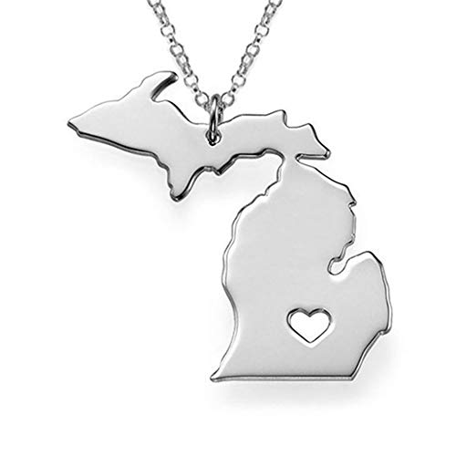 palettei Fashion USA Michigan State Pendant Necklace MI State Map Statement Necklaces Women Charm Jewelry (Silver)