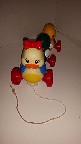 Vintage Tomy Quack Along Mamma and Baby Ducks Pull Toy