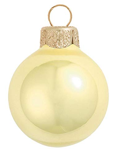 8ct Pearl Soft Yellow Glass Ball Christmas Ornaments 3.25