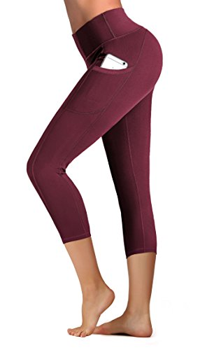 c6730397c012b IUGA High Waist Yoga Pants with Pockets, Tummy Control, Workout Pants for  Women 4 Way Stretch Yoga Leggings with Pockets (Red Capri 7880,M)