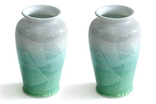 国産 陶器 花瓶 ■ パール仕上げ ■ グリーン 6寸 ■ 2本組 ■ 花瓶 ■ 花入れ 和風 モダン インテリア ■ サイズ約 (cm) 高さ18 口径5.5 胴張10.5 底径8 B07S71C79Q