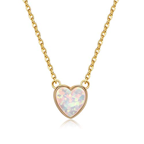 VOUCHON 14K Gold Plated 925 Sterling Silver Love Heart Opal Necklace for Women Dainty Jewelry