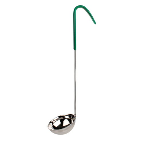 4 oz, one piece color coded ladle, green handle, s/s, Comes in 12/ Pack
