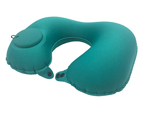 SCANTEE Inflatable Travel Neck Pillow Air Pump Comfortable U-Shape Headrest Support with Compression Bag for Office Train Car Airplane Sleep Cushion (Inflatable Throw Pillow)