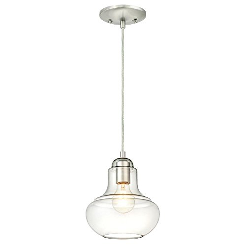 Westinghouse Lighting 6345700 One-Light Mini Pendant Brushed Nickel Finish with Clear Glass (Mini Nickel Brushed Pendant)