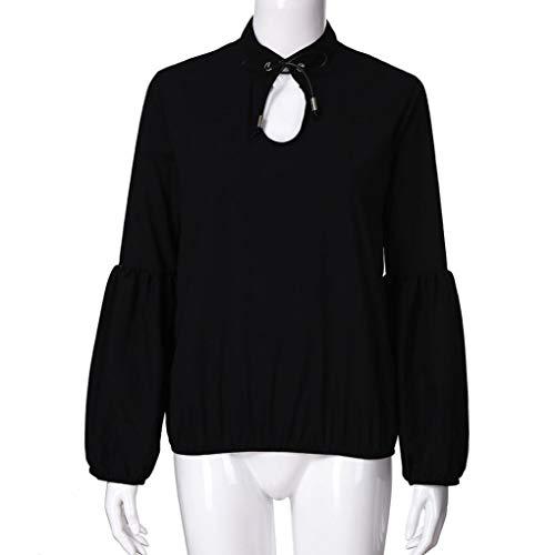 en Col Mousseline 3 Blanc Lanterne Tops de Femme Femmes Noir D contract Soie Xinantime Sexy Chemise V en Noir Blouses Manches 4 qXwx6PnI