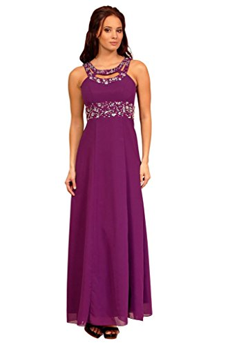 Fashion Con Impero In Chiffon Stile Lungo Sera House Strass Cocktail Magenta Abito Purple da Da PFwqPxrvY