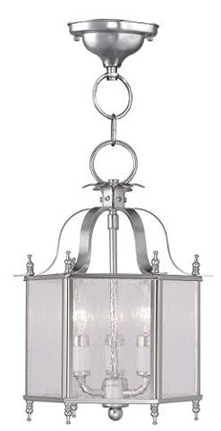 Livex Lighting 4397-91 Livingston 3-Light Convertible Hanging Lantern/Ceiling Mount, Brushed Nickel - Nickel Lantern Pendant