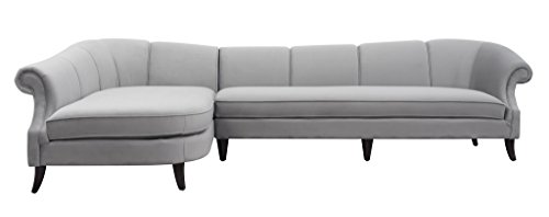 Jennifer Taylor Home, Left Sectional Sofa, Opal Grey, Velvet, Hand Painted and Hand Rub Finished Wooden Legs